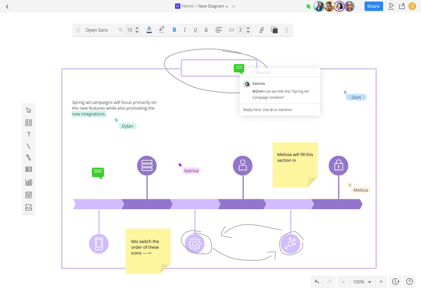 Cacoo users collaborate and comment on a diagram