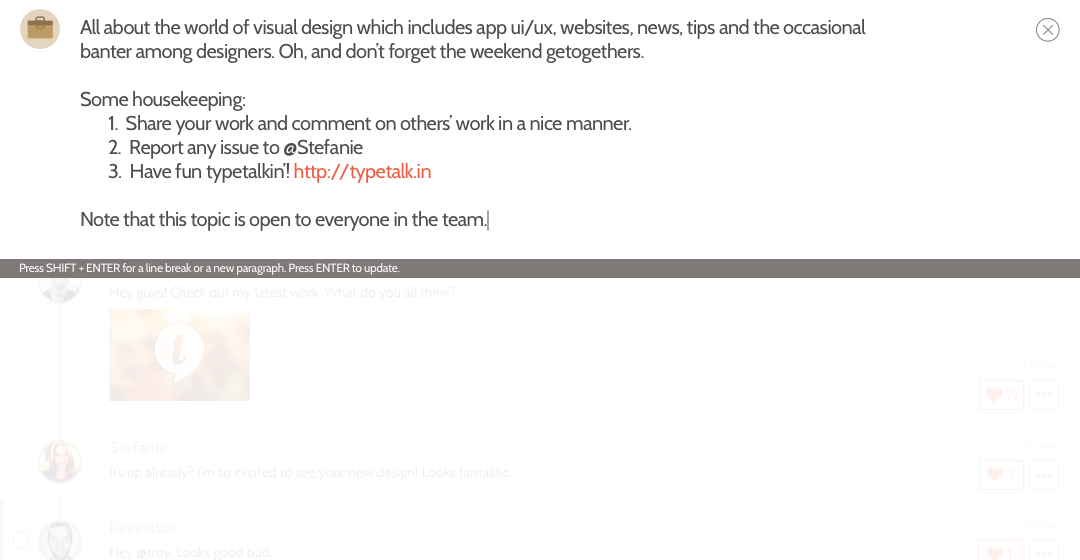 Step 3: Use SHIFT + ENTER to create new lines. Add relevant links.
