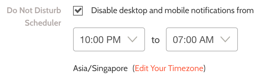 """Check the """"Disable desktop and mobile notifications from"""" box, and click the """"update"""" button to save your changes."""