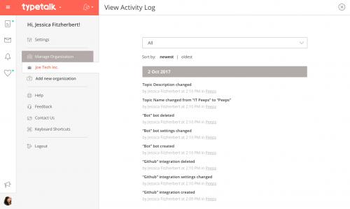 Topic Activity Log
