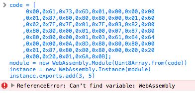 WebAssembly 未対欧のブラウザ Safari 10 で試したのでエラーになっている